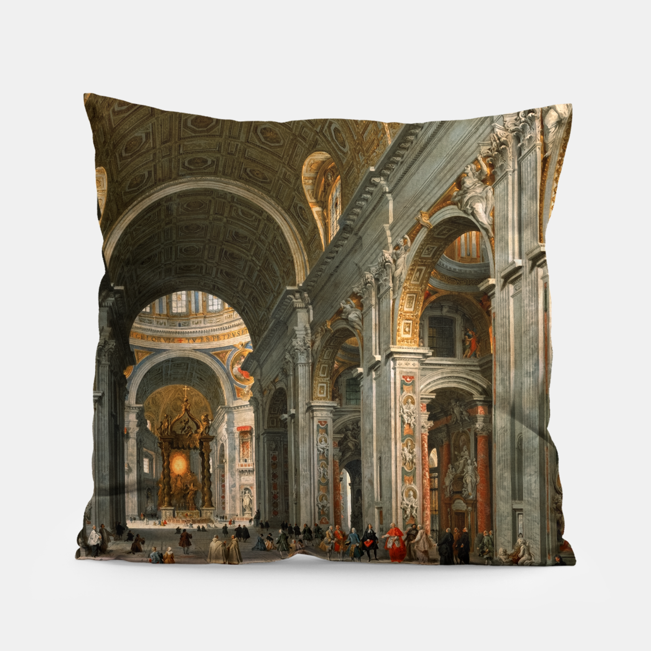 Image of Interior of St. Peter's, Rome byGiovanni Paolo Panini Pillow - Live Heroes