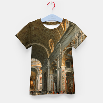 Thumbnail image of Interior of St. Peter's, Rome by	Giovanni Paolo Panini Kid's t-shirt, Live Heroes