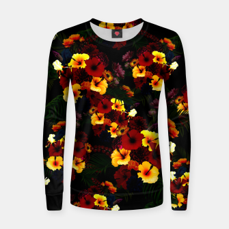 Miniature de image de Hibiscus Flower Black Women sweater, Live Heroes