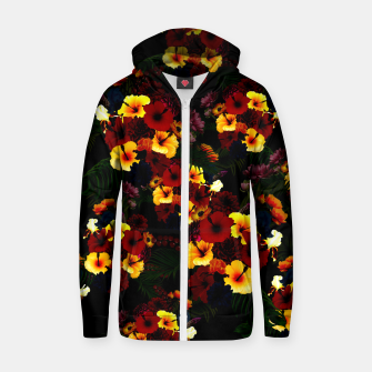 Miniature de image de Hibiscus Flower Black Zip up hoodie, Live Heroes