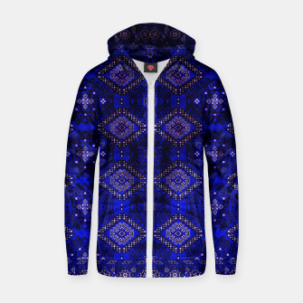 Thumbnail image of Indigo Calm Blue Heritage Traditional Moroccan Style  Zip up hoodie, Live Heroes