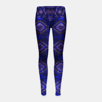 Thumbnail image of Indigo Calm Blue Heritage Traditional Moroccan Style  Girl's leggings, Live Heroes