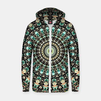 Gold Wire Mandala in Turquoise Zip Up Hoodie thumbnail image