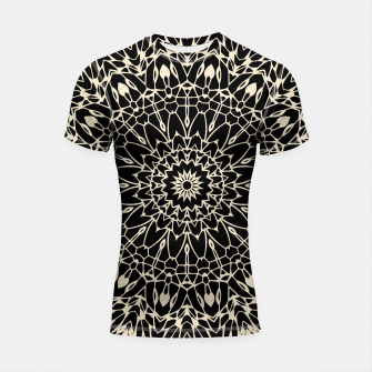 Thumbnail image of Gold Wire Mandala in Black Shortsleeve Rashguard, Live Heroes