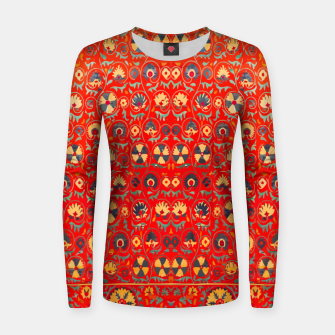 Miniatur Orange Traditional Moroccan Floral Style  Women sweater, Live Heroes