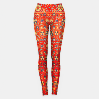 Miniatur Orange Traditional Moroccan Floral Style  Leggings, Live Heroes