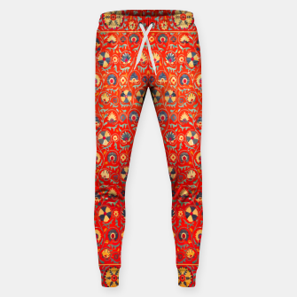 Miniatur Orange Traditional Moroccan Floral Style  Sweatpants, Live Heroes