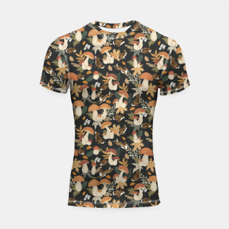 Miniatur Rabbits and mushrooms Shortsleeve rashguard, Live Heroes