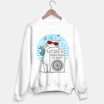 Imagen en miniatura de White cat revelation – I wear my sunglasses at night Sweater regular, Live Heroes
