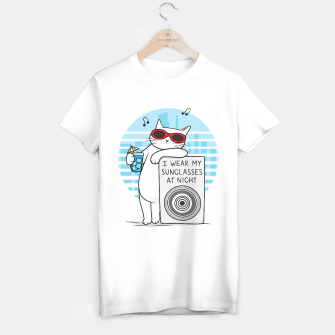 Thumbnail image of White cat revelation – I wear my sunglasses at night T-shirt regular, Live Heroes