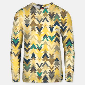 Thumbnail image of Firs, geometric mosaic of trees in soft autumn colors Unisex sweater, Live Heroes