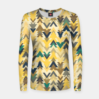 Thumbnail image of Firs, geometric mosaic of trees in soft autumn colors Women sweater, Live Heroes