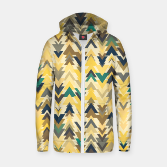 Thumbnail image of Firs, geometric mosaic of trees in soft autumn colors Zip up hoodie, Live Heroes