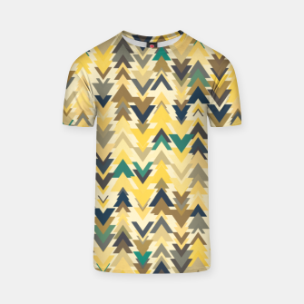 Thumbnail image of Firs, geometric mosaic of trees in soft autumn colors T-shirt, Live Heroes