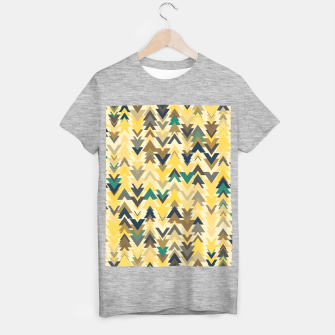 Thumbnail image of Firs, geometric mosaic of trees in soft autumn colors T-shirt regular, Live Heroes