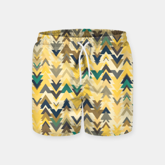 Thumbnail image of Firs, geometric mosaic of trees in soft autumn colors Swim Shorts, Live Heroes