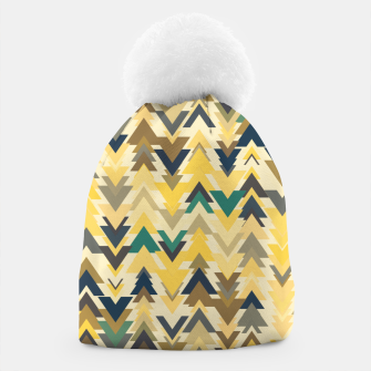 Thumbnail image of Firs, geometric mosaic of trees in soft autumn colors Beanie, Live Heroes