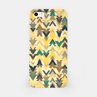 Miniature de image de Firs, geometric mosaic of trees in soft autumn colors iPhone Case, Live Heroes