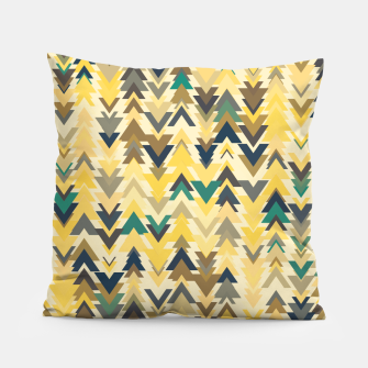Thumbnail image of Firs, geometric mosaic of trees in soft autumn colors Pillow, Live Heroes
