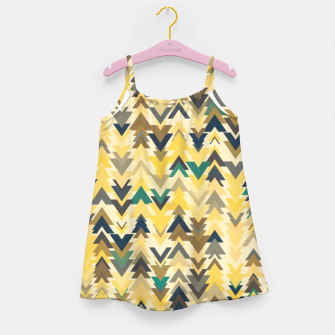 Thumbnail image of Firs, geometric mosaic of trees in soft autumn colors Girl's dress, Live Heroes