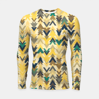 Thumbnail image of Firs, geometric mosaic of trees in soft autumn colors Longsleeve rashguard , Live Heroes