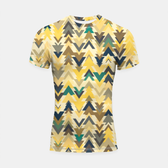 Thumbnail image of Firs, geometric mosaic of trees in soft autumn colors Shortsleeve rashguard, Live Heroes
