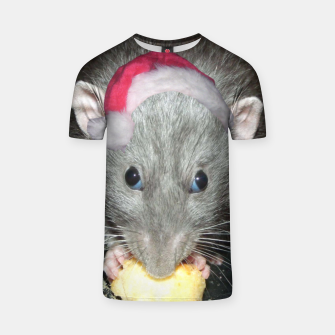 Thumbnail image of Rat wearing Santa hat Christmas T shirt, Live Heroes