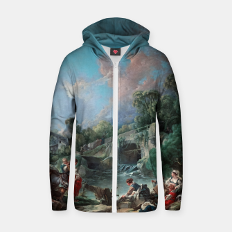 Thumbnail image of Washerwomen by François Boucher Classical Art Reproduction Zip up hoodie, Live Heroes