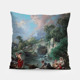 Thumbnail image of Washerwomen by François Boucher Classical Art Reproduction Pillow, Live Heroes