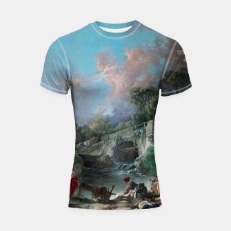 Thumbnail image of Washerwomen by François Boucher Classical Art Reproduction Shortsleeve rashguard, Live Heroes
