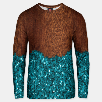 Thumbnail image of Aqua blue sparkles glitter rustic brown wood Unisex sweater, Live Heroes