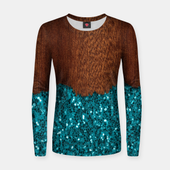 Thumbnail image of Aqua blue sparkles glitter rustic brown wood Women sweater, Live Heroes