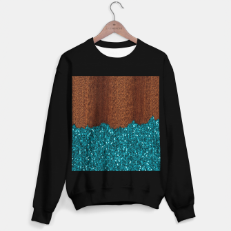 Thumbnail image of Aqua blue sparkles glitter rustic brown wood Sweater regular, Live Heroes
