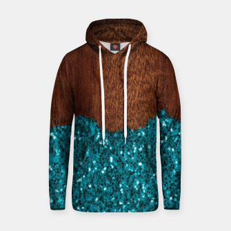 Thumbnail image of Aqua blue sparkles glitter rustic brown wood Hoodie, Live Heroes