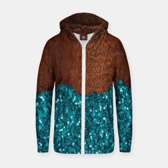 Thumbnail image of Aqua blue sparkles glitter rustic brown wood Zip up hoodie, Live Heroes