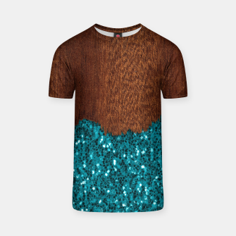 Thumbnail image of Aqua blue sparkles glitter rustic brown wood T-shirt, Live Heroes