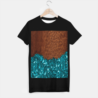 Thumbnail image of Aqua blue sparkles glitter rustic brown wood T-shirt regular, Live Heroes