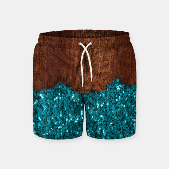 Thumbnail image of Aqua blue sparkles glitter rustic brown wood Swim Shorts, Live Heroes