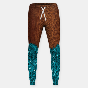 Thumbnail image of Aqua blue sparkles glitter rustic brown wood Sweatpants, Live Heroes