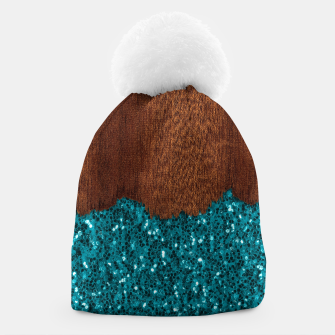 Thumbnail image of Aqua blue sparkles glitter rustic brown wood Beanie, Live Heroes