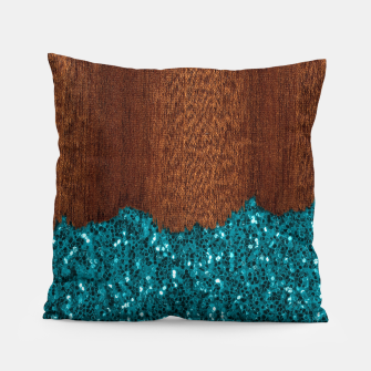Thumbnail image of Aqua blue sparkles glitter rustic brown wood Pillow, Live Heroes
