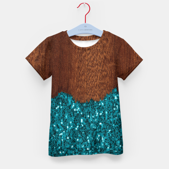 Thumbnail image of Aqua blue sparkles glitter rustic brown wood Kid's t-shirt, Live Heroes
