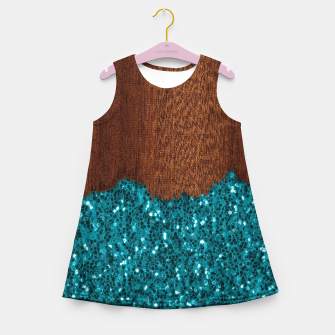 Thumbnail image of Aqua blue sparkles glitter rustic brown wood Girl's summer dress, Live Heroes