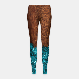Thumbnail image of Aqua blue sparkles glitter rustic brown wood Girl's leggings, Live Heroes