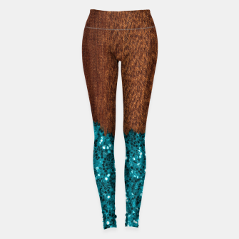 Thumbnail image of Aqua blue sparkles glitter rustic brown wood Leggings, Live Heroes