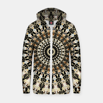 Thumbnail image of Black and Gold Filigree Mandala Zip Up Hoodie, Live Heroes