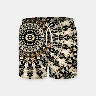 Thumbnail image of Black and Gold Filigree Mandala Swim Shorts, Live Heroes