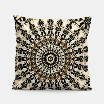 Thumbnail image of Black and Gold Filigree Mandala Pillow, Live Heroes