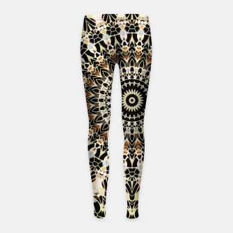 Thumbnail image of Black and Gold Filigree Mandala Girl's Leggings, Live Heroes