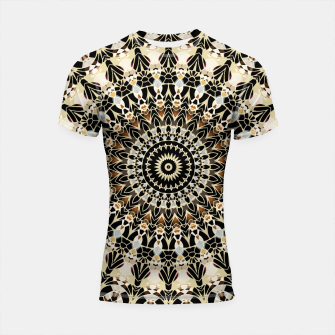 Thumbnail image of Black and Gold Filigree Mandala Shortsleeve Rashguard, Live Heroes